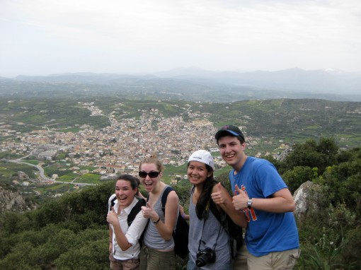 Dallis, KT, Alex M. and Ben enjoy the fine view of Archanes from Mt Jouktas
