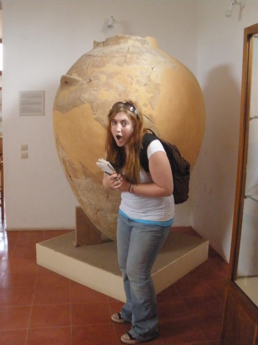 Kait marvels at a formidable pithos from Kolonna in the Aegina museum.