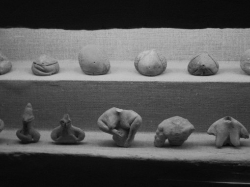 Neolithic female figurines and pregnant bellies.