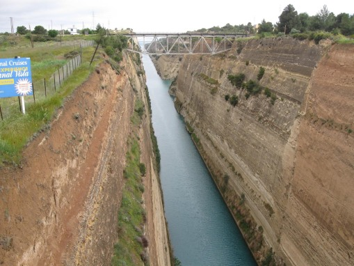 Looking out over the Corinth canal.