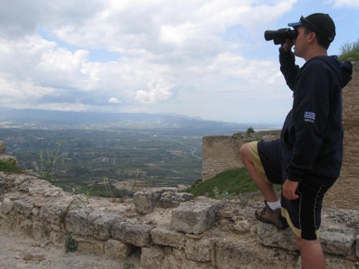Ben making fine use of his new binoculars at Acrocorinth.