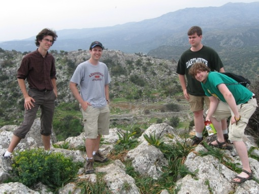 The guys atop an acropolis at Lato
