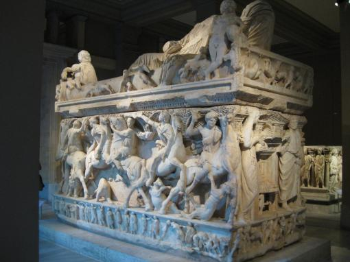An elaborate Roman sarcophagus at the museum.
