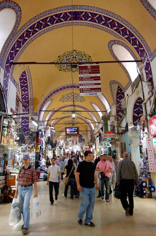 The main hallway of the bazaar in Istanbul.