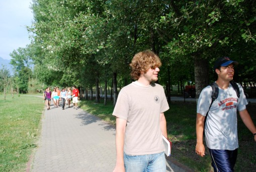 Alex A. and Ben lead the way into the archaeological park.