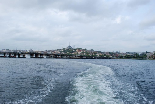 Panorama of Constantinople from the ferry.