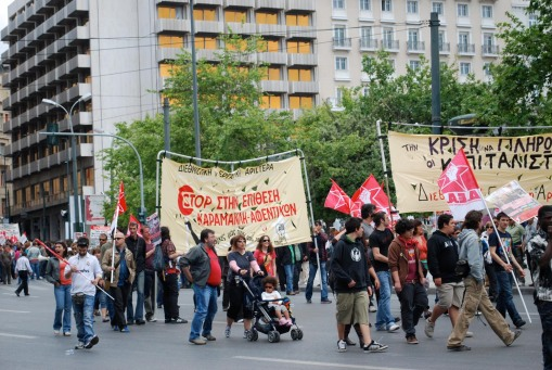 Protestors young and old gather in Syntagma square on May Day.