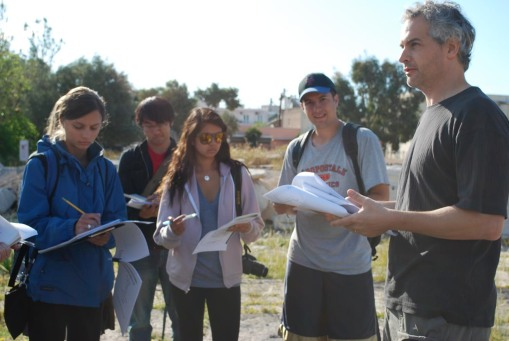 Kathryn, Jerry, Alex M., and Ben take notes at Eleusis.