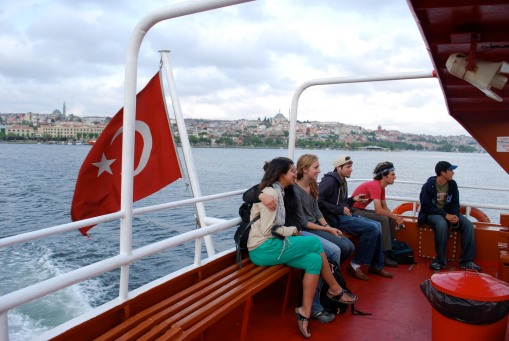 Huddling together on the ferry up the Golden Horn.