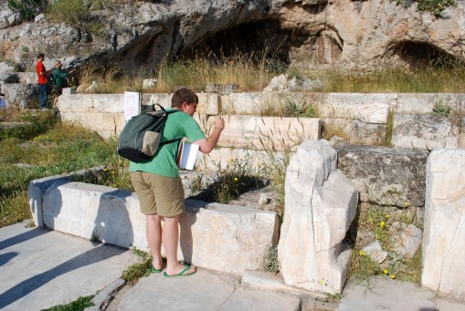 Charlie documents the architectural remains of the inner propylon.