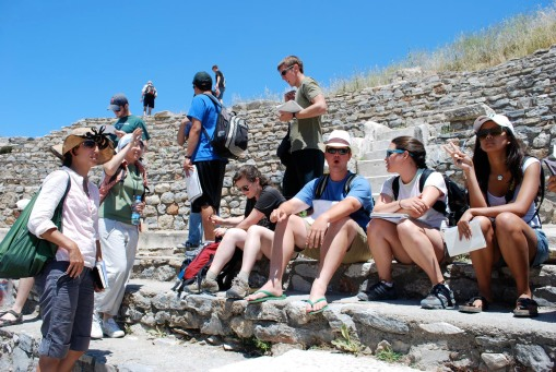 Charlie is impressed by the remains of the Odeion at Ephesus.