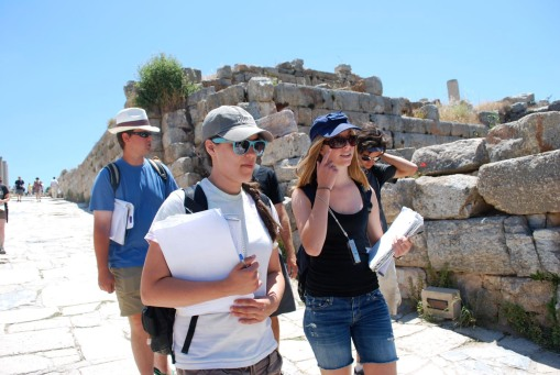 Charlie, Dallis, KT, and Jason stroll down the via at Ephesus.