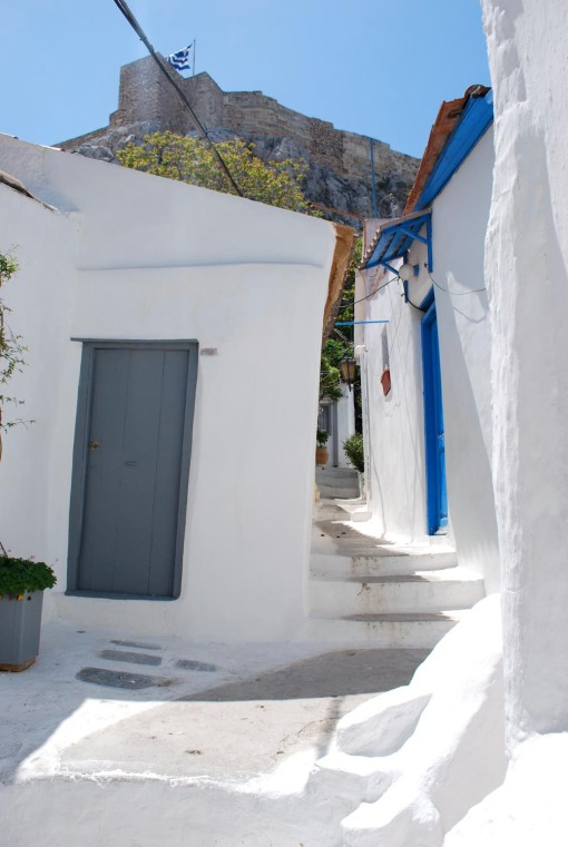 Typical Cycladic architecture in the shadow of the Acropolis.