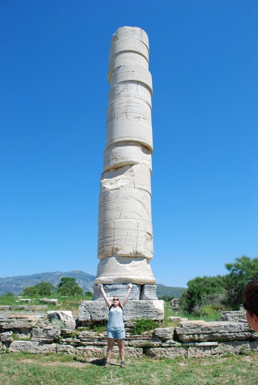 Kait provides human scale with the single standing column of the Polykrateian temple.