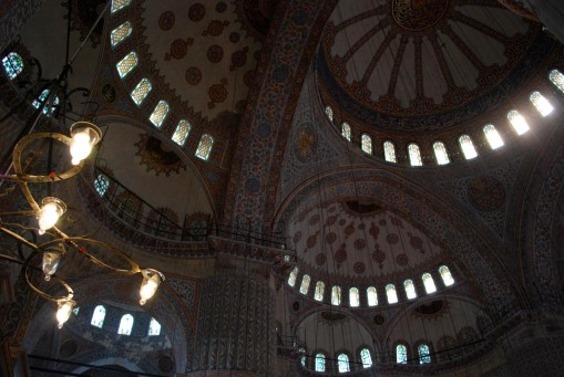 Inside the Blue Mosque.