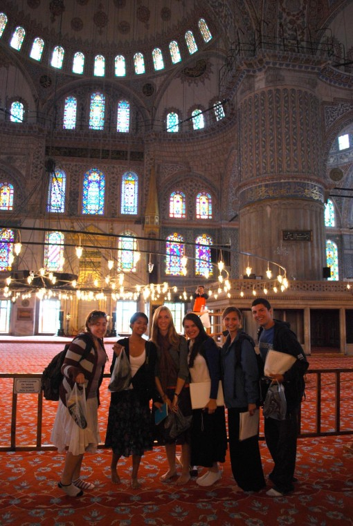 Kait, Alex M., KT, Ally, Kathryn, and Ben inside the Blue Mosque.
