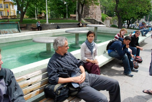 Profs. Christesen and Faro muster their brood during a break in the Sultanhamet neighborhood of Istanbul.