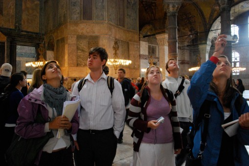 Attention focused above in the Ayia Sofia.
