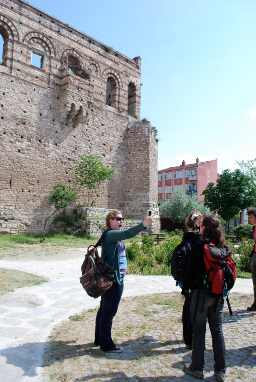 "Kait takes a patented ""Selfie"" by the Theodosian walls."