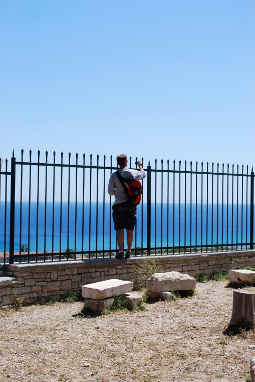 Chris peers out over the Aegean.