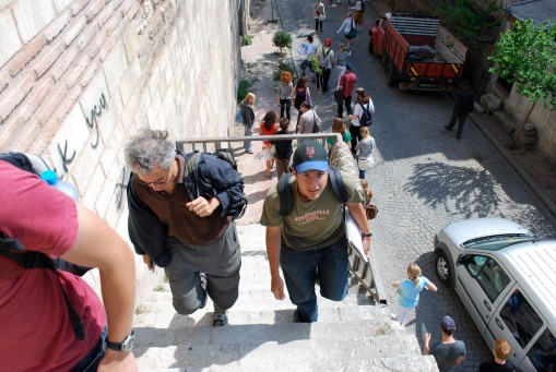 Prof. Christesen and Ben boldly tackle the treacherous staircase up the Theodosian Walls (OSHA would not approve).