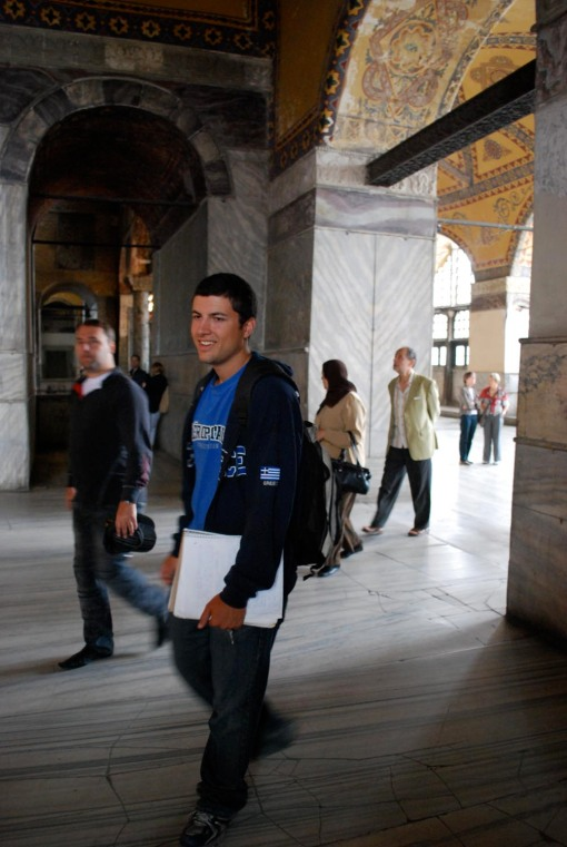 Ben, happy as always, at Ayia Sofia.