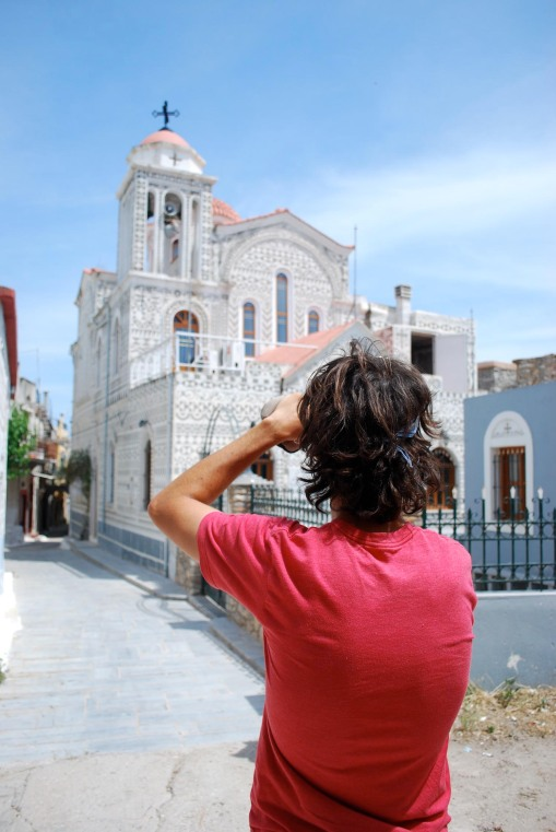 Jason photographs the Genoese-inspired church at Pyrgi.