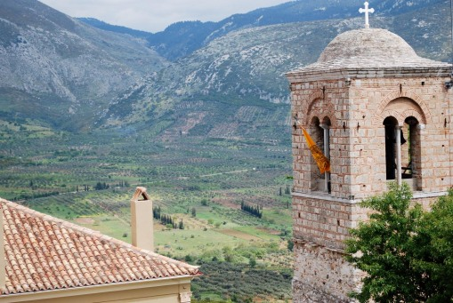 The bell tower of Osios Loukas with the valley spreading out beyond.