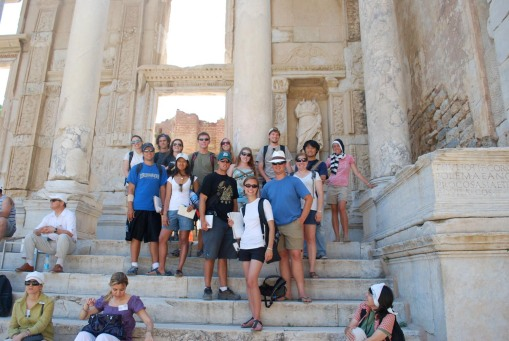 Group shot at the library of Celsus.
