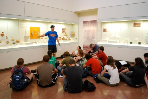 Ben gives a presentation of his work on strigils at the Olympia museum.