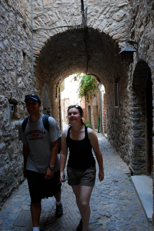 Ben and Ally enjoy the well-preserved medieval village of Mesta, another Mastic village.