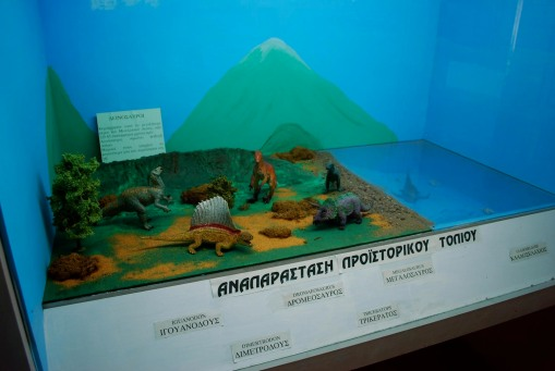 A dino diorama at the paleontological museum.