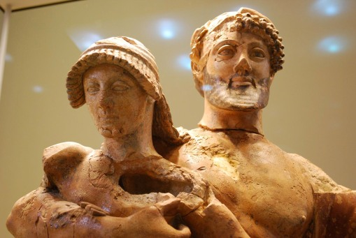 A fine terracotta sculpture of Zeus and Ganymede.