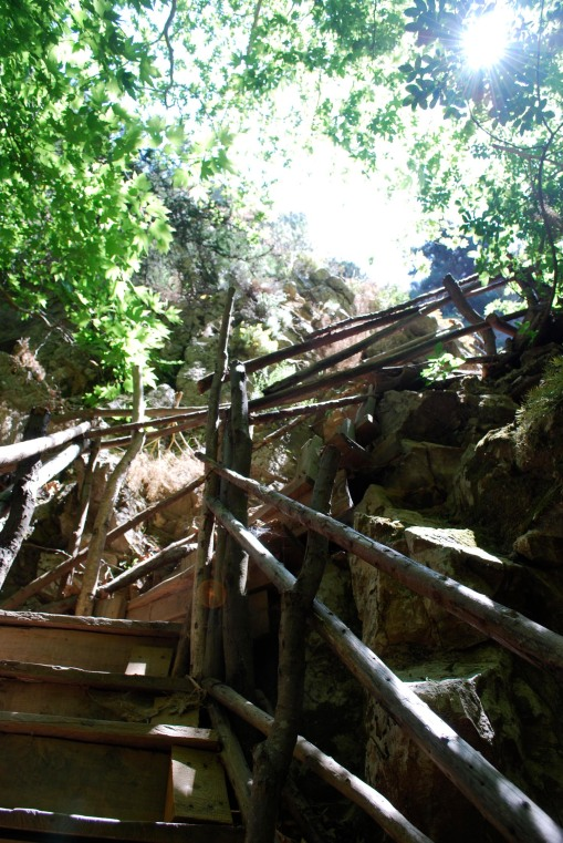 A rickety wooden stair on the way to the Potami waterfalls on the Northwestern coast of Samos.