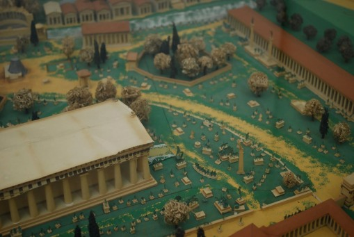 An old-timey model of Olympia from the Excavation history museum.