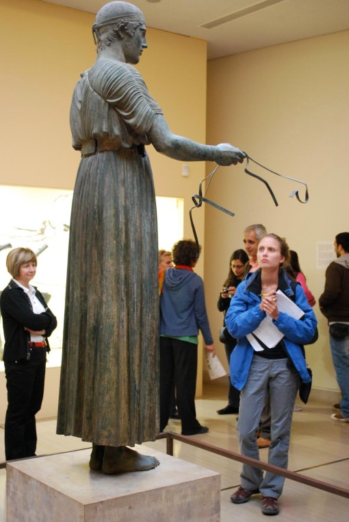 Kathryn inspects the Delphi charioteer.
