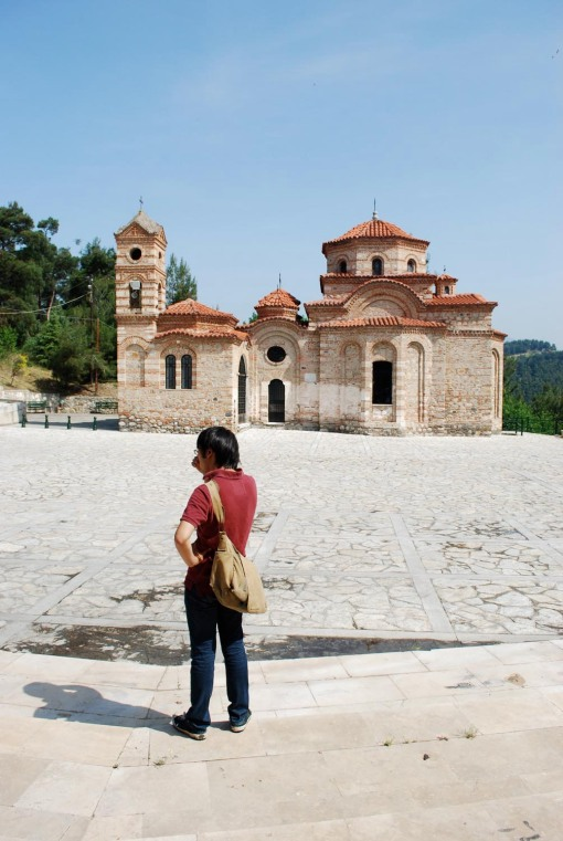 Jerry and the church of Ayios Nikolaos at Serres.