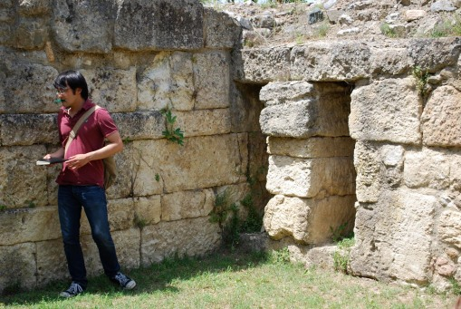 Jerry inside the walls at Amphipolis.