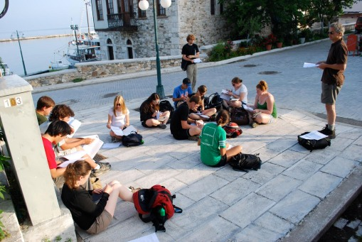 Early morning lecture in the old harbor at Thasos town.