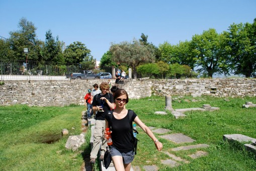 Kathryn leads the way into the agora.
