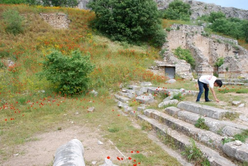 Jerry sherding in Basilica A at Philippi.