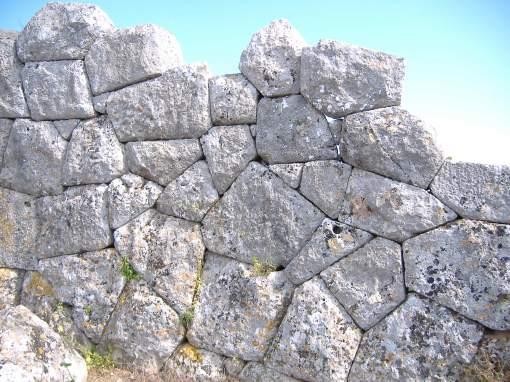 Fine polygonal masonry in the wall circuit at Oineadae.