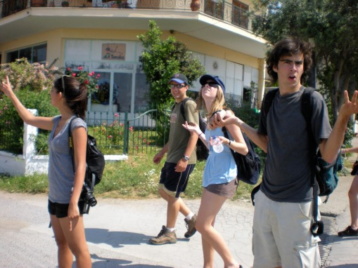 Confusion amuk whilst the group looks for the acropolis at Vergina.