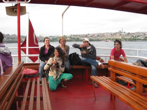 Enjoying the Bosporus ferry ride.