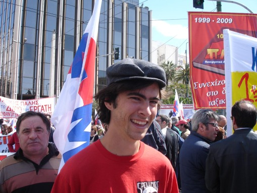 Jason in his socialist outfit at the May Day demonstrations