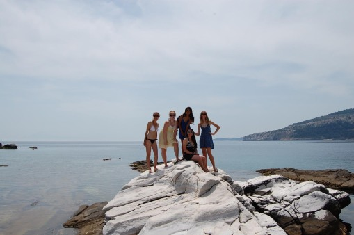 The ladies strike a pose at Aliki.