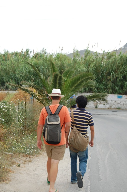 Charlie in his Kahnquestador hat and Jerry with his adventurer's hat making their way through the Naxian jungle.