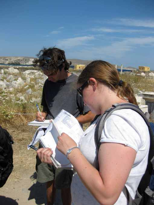 Jason and Kate take detailed notes at Delos